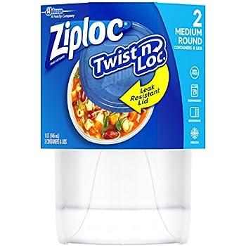 Ziploc Twist 'N Loc , Medium Round, Containers & Lids, 2 Count