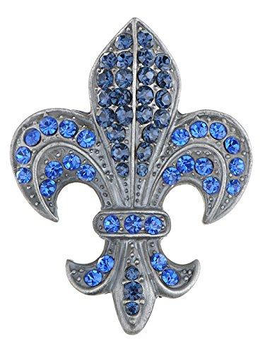 Alilang Blue Sapphire Crystal Rhinestone Fleur De Lis Pin Brooch