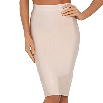 Nayssi Women's High Waist Knee Length Bandage Pencil Skirt at Women's Clothing store