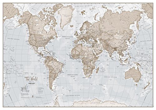 Large Map of The World - Silk Art Print World Map - Neutral Tones - 33 x 23