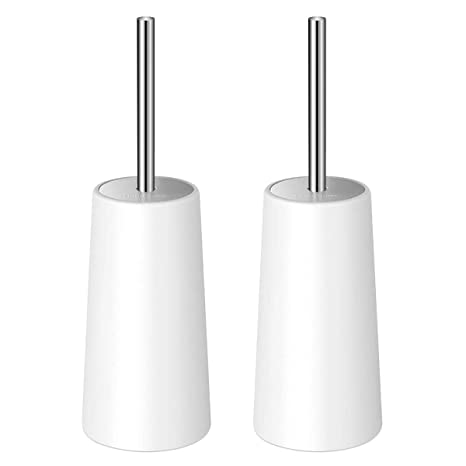 Homemaxs Toilet Brush and Holder 2 Pack- Heavy Duty 【2019 Upgraded】 Stainless Steel Length Handle Toilet Bowl Brush Set – Ergonomic, Durable Shed-Free ...