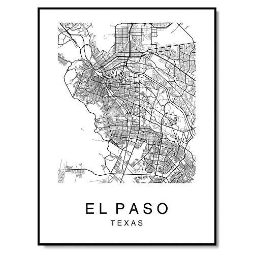 El Paso Map Wall Art Poster Print El Paso Texas USA City Map Street 8x10 Black & White (Photo Cherished Moments Frame)