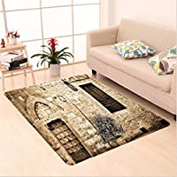 Nalahome Custom carpet eval Tuscany Decor Antique Doorway to Stone House in Italian Mediterranean Culture Scenery Beige area rugs for Living Dining Room Bedroom Hallway Office Carpet (2 X 4)