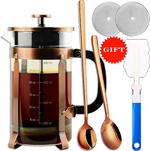 ADAMITA French Press Coffee Maker 8 cups 34 oz 304 Stainless Steel Coffee Press with 4 Filter Screens, Easy Clean Heat…