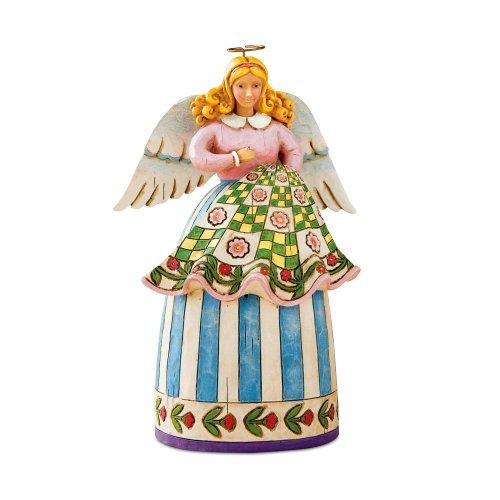 Jim Shore Heartwood Creek Mini Quilting Angel Figurine, 5-Inch by Enesco