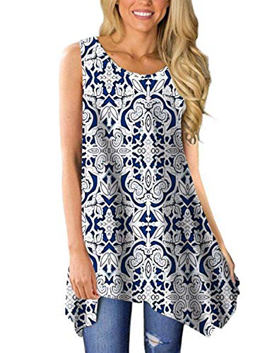 (Viracy Women's Summer Casual Sleeveless Swing Tunic Floral Tank Top (Large, 04-White Paisley))
