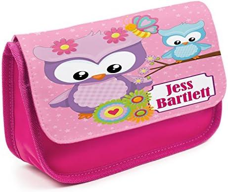 Estuche personalizado con diseño de búho EC012 para niñas, bonito estuche escolar, color rosa: Amazon.es: Oficina y papelería