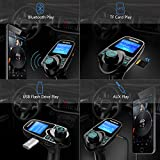 "VicTsing Bluetooth FM Transmitter for Car, Wireless Bluetooth Car Adapter with Hand-Free Calling and 1.44"" LCD Display, Music Player Support TF Card USB Flash Drive AUX-Black"