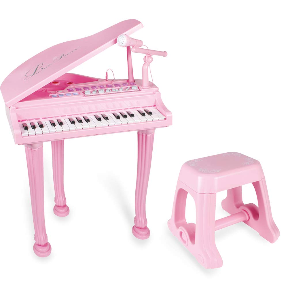 Little Princess Educational 37 Keys Keyboard Kids Toy Piano with Bench and Microphone can Connect MP3 Mobile Phone for Toddlers by Baoli by BAOLI