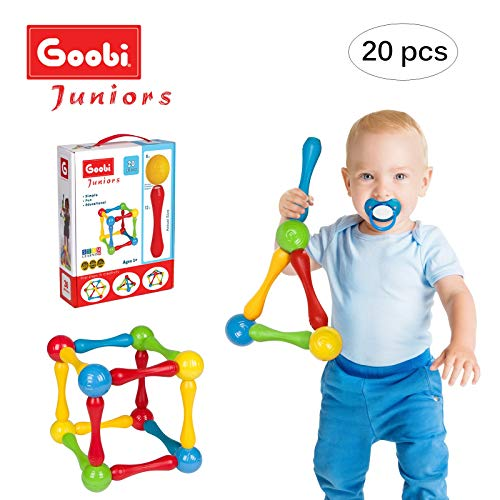Goobi Juniors 20 Piece Construction Set Large Building Blocks Developmental Play Sticks STEM Learning Vibrant Colors Creativity Imagination 3D Puzzle Educational Toys for 1 Year Old Toddlers Preschool -