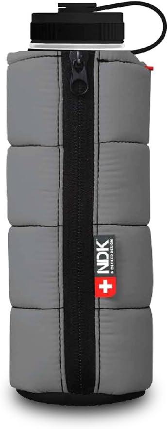 Smart Planet NDK Nidecker Designs Puffer Jacket Sleeve 18 oz 18/8 Stainless Steel Insulated Vacuum Tumbler, Gray