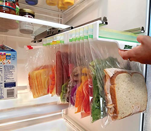 Zip n Store - Organize Your Refrigerator - Mid-Size Easy Store Organizer - Organizes 12 Bags, Perfect For Leftovers, Easy To See + Access Food, Quick Access Slide Track, Installs - Store Space
