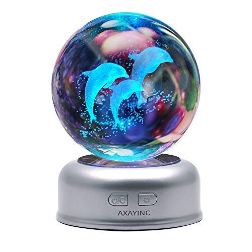 (AXAYINC Dolphin 3D Crystal Ball LED Night Light with Base, Puzzle Dolphin Advanced Laser Engraving, Ideal Present for Kids, Friends, Perfect for Home, Offices, Bars Decor etc. - 70mm)