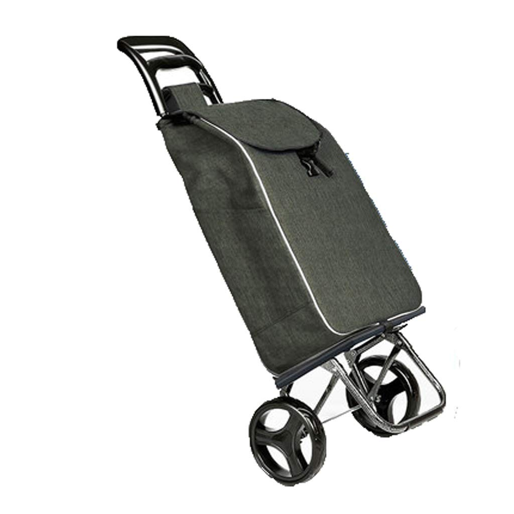 Lxrzls Shopping Cart, Grocery Shopping Cart, Portable Trolley, Folding Trolley Trolley, Household Trolley Trailer (Color : Green)
