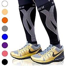BLITZU Calf Compression Sleeve Leg Performance Support Shin Splint & Calf Pain Relief. Men Women Runners Guards Sleeves Running. Improves Circulation Recovery