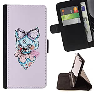 KingStore / Leather Etui en cuir / Samsung Galaxy S4 IV I9500 / 3 Eyed Cat