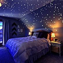 Glow In The Dark Stars 3D Wall Stickers,200 Stars and Moon for Kids Room Ceiling by Grace