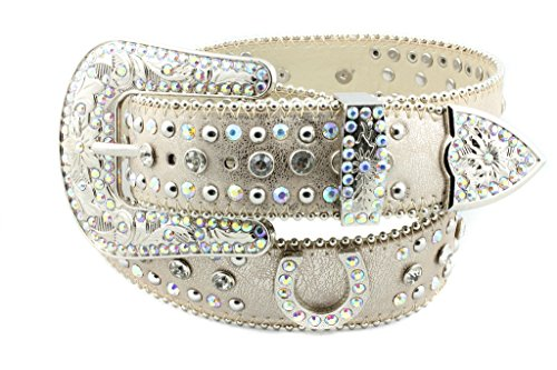 Belt Buckle Gold Bling (Deal Fashionista LITE BEIGE Horse shoe Western Rhinestone Bling Studded Removable Buckle Belt)