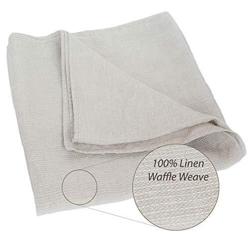 100% Linen Stonewashed Bath Sheet - XXL Lightweight Thin Pure Linen Flax 39x78 Inch Gray Natural Waffle Weave Large Beach - Bath Style Babies