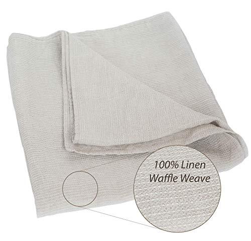 100% Linen Stonewashed Bath Sheet - XXL Lightweight Thin Pure Linen Flax 39x78 Inch Gray Natural Waffle Weave Large Beach Towel