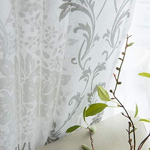 MRTREES Sheer Curtains Floral Printed 84 inches Long Living Room Gray Damask Print Bedroom Scroll Paisley Design Curtain Sheers Rod Pocket Kitchen Flower Window Treatment Set 2 Panels Grey on White