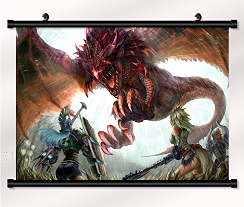 Monster Hunter poster with wall scroll