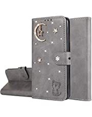 Miagon Diamond Wallet Case for Samsung Galaxy A10S,3D Moon Star Cat Design PU Leather Flip Magnetic Closure Card Slots Stand Shockproof Full Protective Cover,Gray