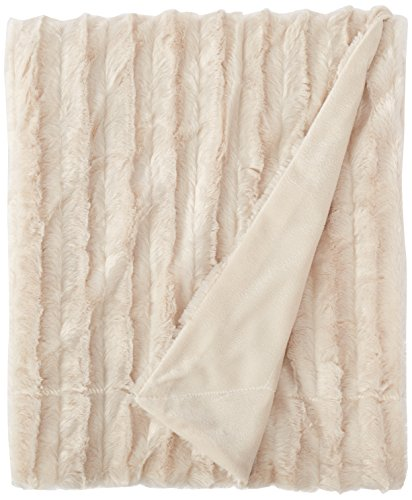 "Madison Park Duke Polyester Brushed Long Fur Knitted Throw, 50 by 60"", Champagne"