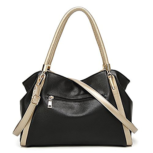 Review DALFR PU Vegan Leather Women Shoulder Bags Hobo Handbags Top Handle Tote Crossbody Oversized Bags (Black)