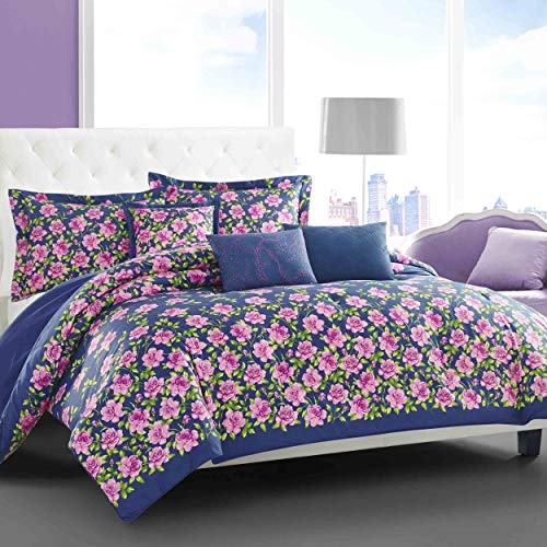 (Betsey Johnson Rose Garden Comforter Set, Full/Queen, Dark Blue)