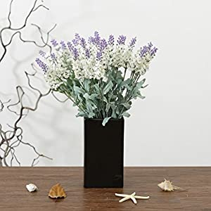 5 Branch per Bounquet Artificial Lavender for Home Decor without Vase & Basket, 1 Flower, White 48