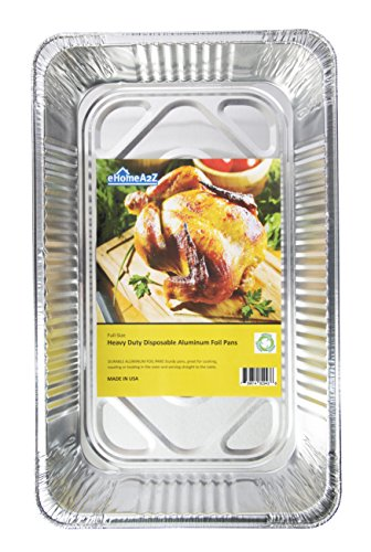 eHomeA2Z (10 Pack) Heavy Duty Full Size Disposable Aluminum Foil Steam Table Pans With Foil Lids for Cooking, Roasting, Broiling, Baking - 21 x 13 x 3 (10, Full-Size w/ Lids) by eHomeA2Z (Image #2)