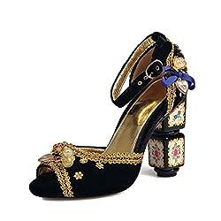 Peep Toe With Flowers & Crystal Sandal