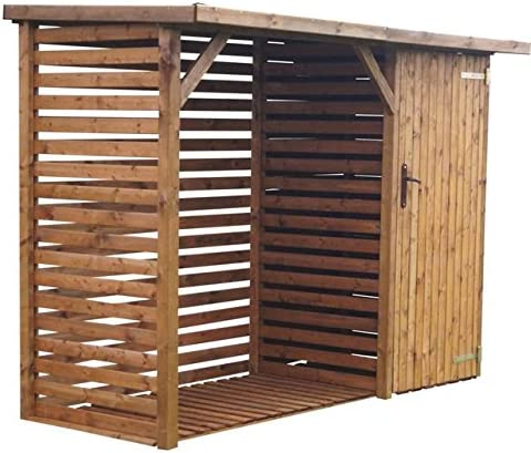 CADEMA Caseta de madera con espacio para contenedores o aparatos de jardín (16 mm): Amazon.es: Jardín