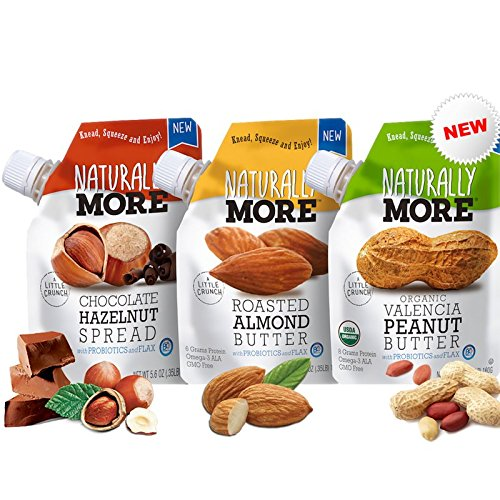 Naturally More Nut Butter Variety Pack 100% All Natural - Probiotics + Flax Travel Size Snack Packets (3 Packs)- Vegan - Gluten Free - Plant Based Protein -