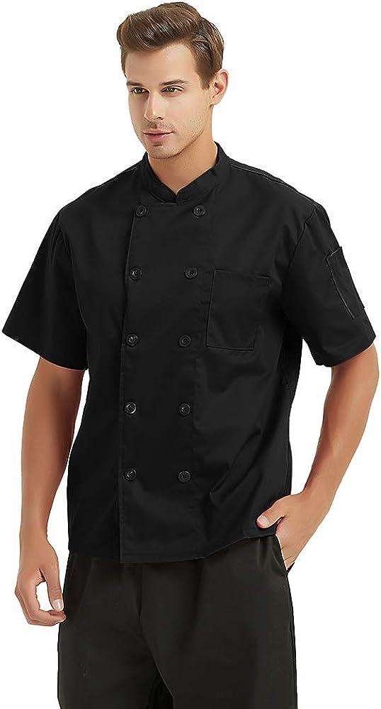 TOPTIE Unisex Short Sleeve Cooking Chef Coat Jacket with Adjustable Hat-Black-XXL
