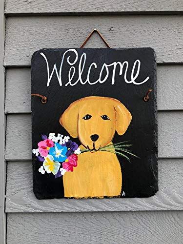MaxwellYule Painted Slate Welcome Sign Spring Door Hanger Dog Welcome Sign Spring Door Decor Welcome Plaque Outdoor Spring Decorations Dog Lovers