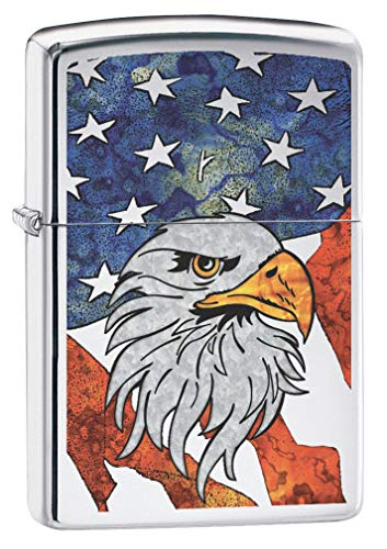 Zippo Lighter: Fusion Bald Eagle and American Flag - High Polish Chrome 79806 ()