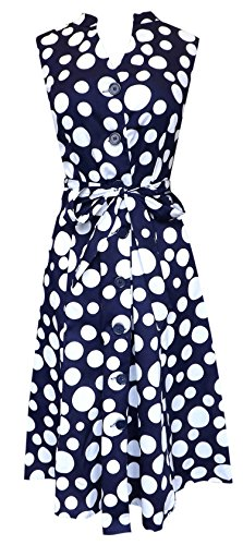Peach Couture Vintage Inspired Pattern Button Up Shift Dress with Fabric Belt Tie 100% Cotton (Large, Navy & White)