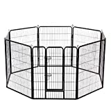 BestPet 40'x32' Heavy Duty 8 Panel Folding Metal Pet Playpen Dog Exercise Fence With Door