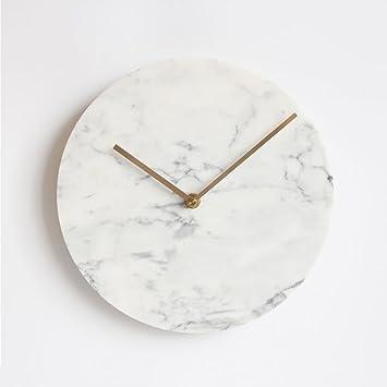 Reloj de Pared de mármol Natural Creativo Moderno Minimalista Simple decoración mediterránea Personalizada Reloj Reloj de Pared de Silencio, 10 Pulgadas, ...