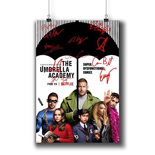 Pentagonwork The Umbrella Academy Casts Autographed Reprint TV Show Poster 11.7x16.5 A3 Prints w/Stickers Superhero TV Series Season,Ellen Page Tom Hopper Signed, 1240-001
