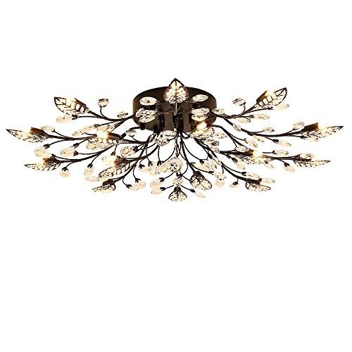 LightInTheBox Modern G9 Crystal Chandelier, Flush Mount Light 15 Lights Ceiling Lighting Fixture Lamp Tree Leaves Floral Lights Diameter 90cm for Living Room Bedroom Dining Room (Black) ()