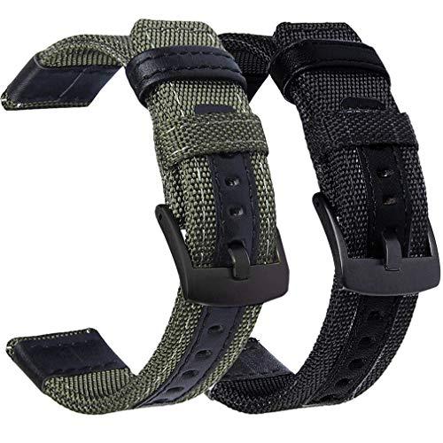 Olytop Compatible Samsung Galaxy Watch 42mm Band & Galaxy Watch Active Bands - 20mm Nylon Sport Wristband Replacement for Galaxy Watch Active SM-R500/ Garmin Vivoactive 3 Smartwatch -Black+ Army Green