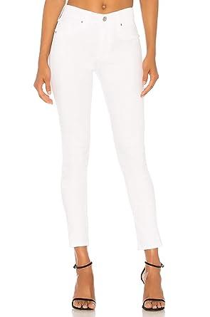 Pantalones Vaqueros Mujer Pitillo Moda Cintura Alta Blanco S