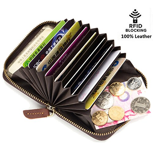 Edmen Thin Soft Leather Accordion Style Genuine Leather RFID Secured Card Case Wallet with Zipper