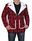 fjackets Mens Denver Red Plaid Shearling Fashionable Outerwear Flannel Cotton Jacket - 2XL