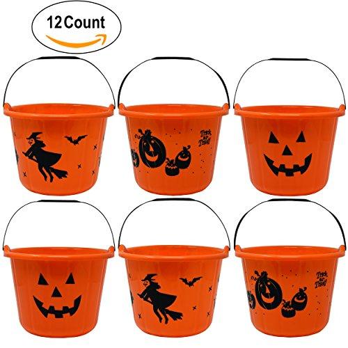 Plastic Halloween Pumpkins (12 Pack Halloween Candy Bucket 9