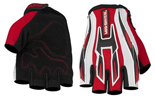 Dernen Motorcycle Cycling Protective Fingerless Gloves (Red, L)