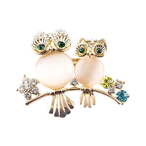 Owl Bird Pin - PANGRUI Gorgeous Clear Rhinestone Baby and Mom Owl Animal Bird Pins Brooch (gold)